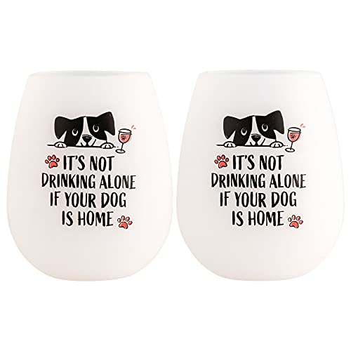 It's Not Drinking Alone If Your Dog is Home - Shatterproof Pack 'n Sip Silicone Wine Glasses (Set of 2) - Bendable Funny Wine Cups for Dog Lovers