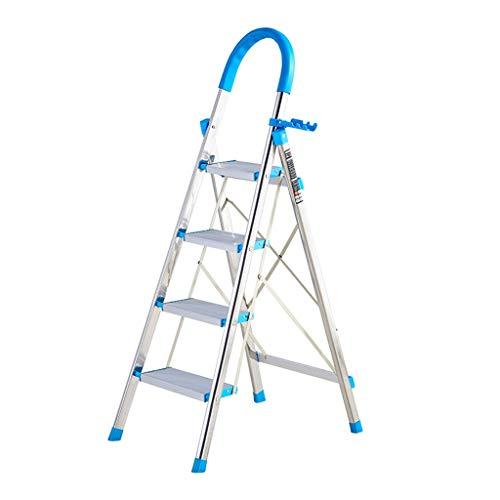 C-J-Xin roestvrijstalen viertraps ladder, anti-blokkeersysteem Stable staande ladder bioscoop/restaurant/bar ladder/folding dikte: 4 cm/blauw, groen, oranje huishoudtrap 44 * 62 * 135cm blauw