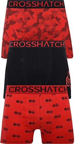 Crosshatch TRESCO Herren Boxershorts, 3 Stück Gr. L, Rot - Pendley