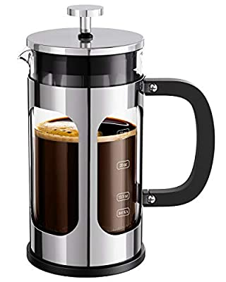 BAYKA French Press Coffee Tea Maker, 304 Stainless Steel Coffee Press with 4 Level Filtration System, Heat Resistant Thickened Borosilicate Glass, 34 Ounce, Silver