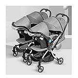 QIFFIY Kinderwagen für Zwillingskinderwagen, leicht, faltbar, Drache und Phönix, für Babys im...