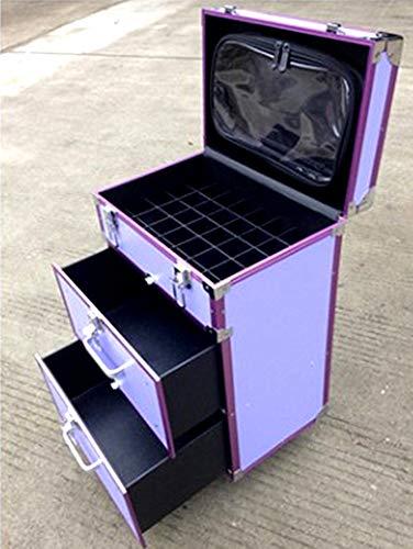 Beauty Case Trolley Maquillage Coiffure Nail Cosmetic Valise boîte à maquillage outils Esthetique Poignée Télescopique - diverses Couleurs au Choix 35x23x56cm,A