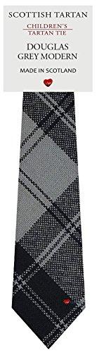 I Luv Ltd Garçon Tout Cravate en Laine Tissé et Fabriqué en Ecosse à Douglas Grey Modern Tartan
