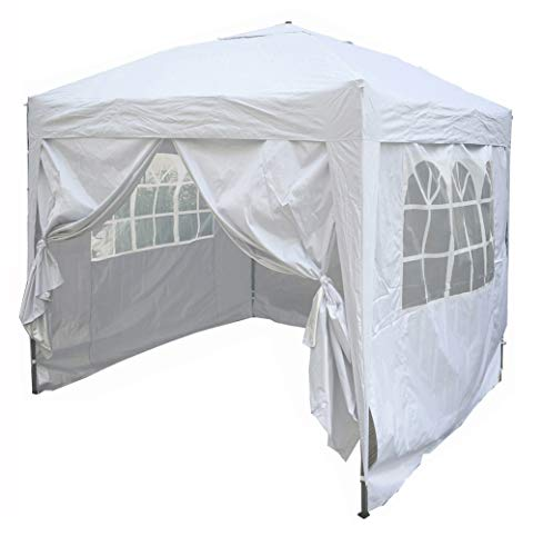 mcc direct Premier 2x2m Waterproof Pop-up Gazebo with Silver Protective Layer Marquee Canopy (WS) (White)