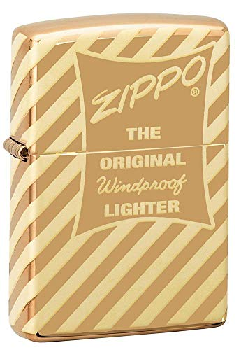 Zippo Logo Design Feuerzeuge, Unisex-Erwachsene, Vintage Box Top Pocket Lighter, Messing, One Size