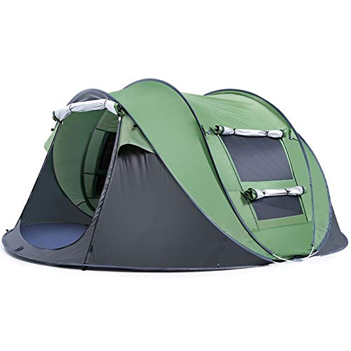 SHIBOHAN Camping tent outdoor 3-4 people automatic double windproof 2 people outdoor speed open tent rainproof, sunscreen and windproof (Color : Army green, Size : 4-5 people)