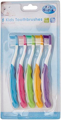 First Steps - Enfant brosse à dents facile à tenir pour 3 ans et plus (lot de 5)