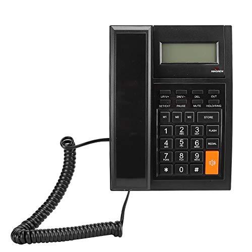 Cig Teléfono con Cable, ABS Negro Luz Azul portátil portátil Pantalla LCD Llamada Manos Libres Teléfono Fijo Fijo para Oficina en casa
