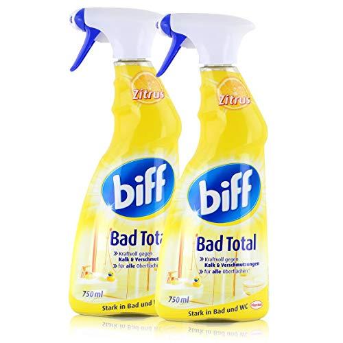 Biff Bad Total Zitrus 750ml - Stark in Bad und WC - Kraftvoll gegen Kalk - Mit Zitrusduft (2er Pack)