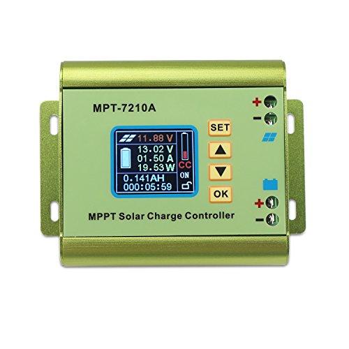 Controlador de carga solar CC 12 ~ 60 V 10 A voltímetro amperímetro módulo de impulso de 24 V 36 V 48 V 60 V 72 V Panel de cargador de batería compatible con DC-DC Step-up Voltaje de carga función