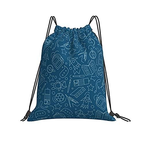 Bolsas de regreso a la escuela-fondo sin costuras ilustración vectorial con cordón mochila deportes gimnasio bolsa unisex niños de yoga al aire libre gimnasio natación viaje playa Sackpack un tamaño