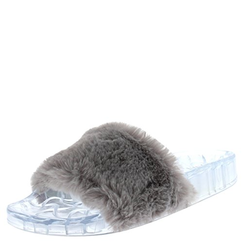 Womens Sassy chique zomer enkele riem open teen pluizig plat EVA mode sandalen