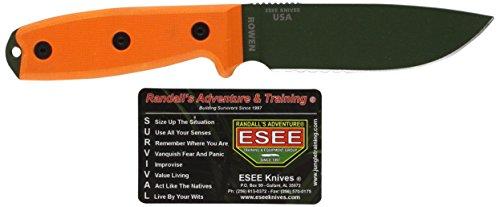 ESEE Unisex– Erwachsene, Outdoormesser | Klingenlänge: 11, 43 cm, Orange Griff: G-10, Model 4 Part Serrated 11,43 cm G-10-Model, Mehrfarbig, normal