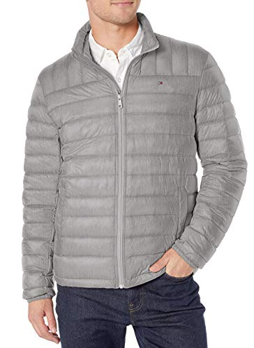 Tommy Hilfiger Herren Packable Down Jacket (Regular and Big & Tall Sizes) Daunen, Oberbekleidung, Mantel, Cement, Small