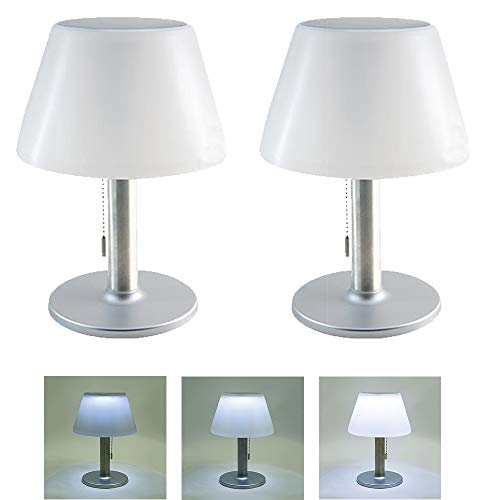 Dapo® 2x Solar-Außen-Garten-Tisch-Leuchte-Lampe JOLLA mit Zugschalter, drei Helligkeits-Stufen. IP44 Balkon-Terrasse-Fensterbank-Treppen-Leuchte-Lampe