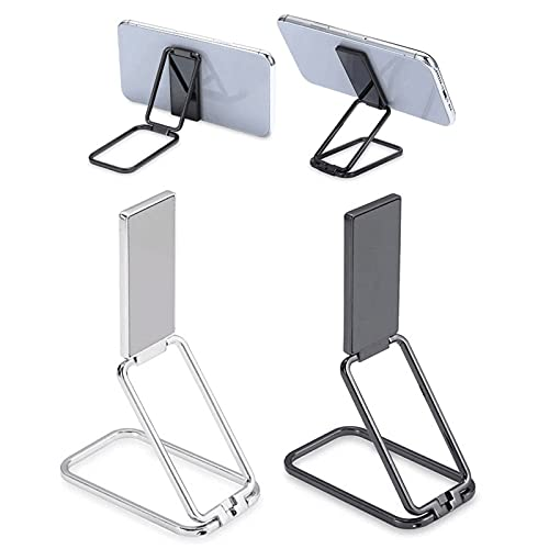 Soporte para Anillo de teléfono de 2 Piezas, Soporte móvil de Escritorio retráctil con Hebilla de Anillo Plegable con rotación de 360 ° para Montaje magnético en Coche (Negro + Plata)