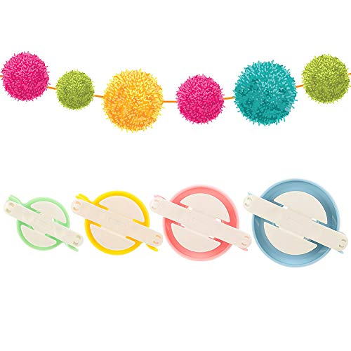 Thursday April Pompon Hacedor 4 Tamaños para Hacer Pompones Pelotas de Pelusas Kit de Hilar Lana para Hacer Pompon Herramienta para Lana Aguja Tejedor Tejido DIY(4 Colores)