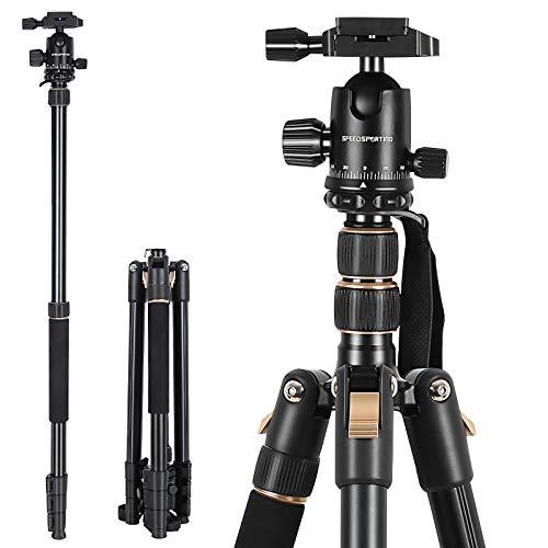SPEEDSPORTING Kamera Stativ 205cm Aluminium Stativ Reisestativ mit Einbeinstativ, Fotostativ 360° Kugelkopf mit Schnellwechselplatte Tragetasche für Canon Nikon Sony Olympus