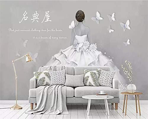 Aangepaste Wallpaper 3D muurschildering Retro Terug Bruidsjurk Winkel Cement Muur Gereedschap Achtergrond Muur Papier 3D muurschildering Wallpaper