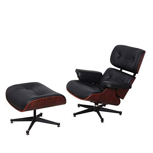 Wfdqyl Mid Century Modern Classic Wingback Sperrholz Design-Replica-Art Palisanderholz mit Premium High Grade Vintage Schwarze PU-Leder Lounge Chair & Ottoman,Schwarz