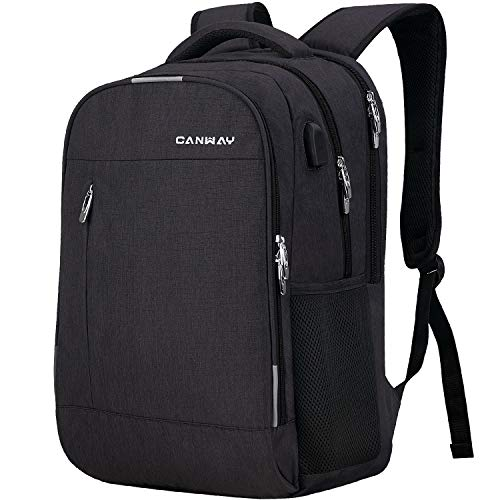 CANWAY Travel Laptop Backpack for Women / Men 15.6-Inch College School Backpack with Laptop Compartment and USB Charging Port, Anti Theft & Water Resistant Travel Business Backpack/Computer Bag - Black