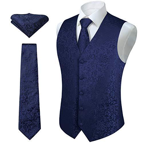 HISDERN Set di gilet e cravatta jacquard floreali classici da uomo in paisley floreale e tasca quadrata Argento Blu marina