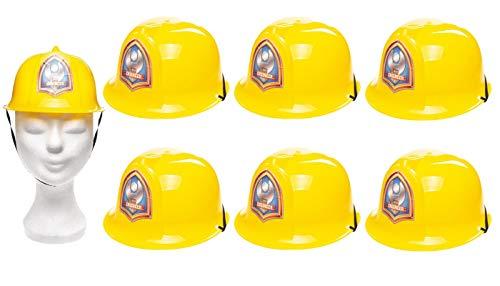 jameitop® 👷♂️ 6 Stück Spielzeug Handwerkerhelm (USA - Modell) stabiler Kinder Helm/Jugendliche Karneval/Fasching/Bauhelm/Schutzhelm 