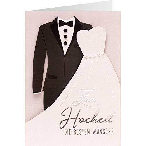 Sheepworld, Gruss und Co. - 90859 - Klappkarte, Knopfkarte, mit Umschlag, Nr. 31, Zur Hochzeit die besten Glückwünsche
