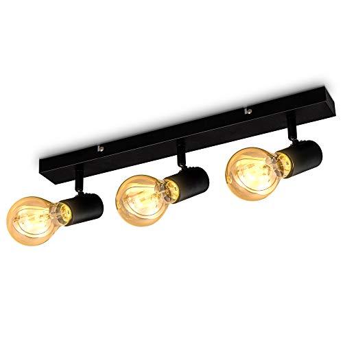 B.K.Licht I schwenkbare vintage Deckenleuchte I 3-flammige retro Deckenlampe I max.60W E27 I Landhausstil I Deckenstrahler I ohne Leuchtmittel