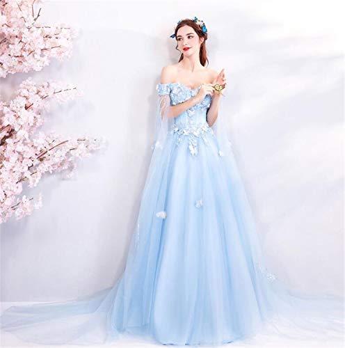 LYJFSZ-7 Hochzeitskleid,Hellblaues Hochzeitskleid, Schulterfreier Schmetterling Besticktes Tüllkleid, Bankett Party Ballkleid