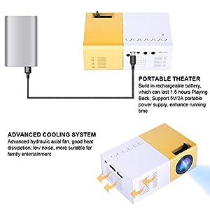 Tonysa - Mini proyector de Cine en casa portátil LED, 1080P HD Home Theater proyectores, soporta HDMI AV VGA USB Micro SD para entretenimientos/Cine en casa/Aire Libre, etc.