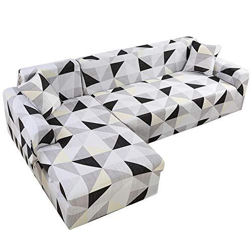 Verloco 2-delige set sofaovertrek uittrekbaar in L, stofdicht, klassieke sofaovertrek, kussenovertrek (optioneel), zachte stof, wasbaar, voor hoekbank of in L