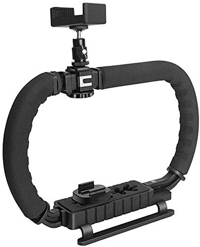 Stabi Handheld Stabilisator Camcorderstabilisator mit Zubehörschuh Faltbare DC + DV 2-Handgriff Video Rig Steadycam Stabilizer, für alle Action Kameras, Gopro, Camcorder, DSLR iPhone usw