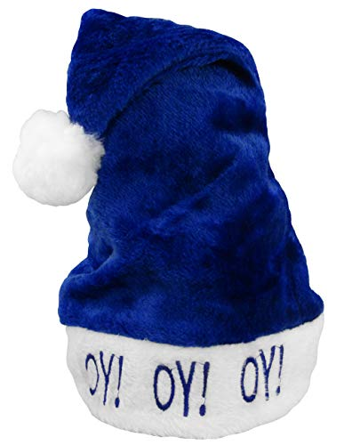 Adult Happy Chanukah Hat Oy Vey Stocking Cap - Holiday Hanukkah Soft Fuzzy Hat with Puff Ball - Blue & White Santa Hat, One Size