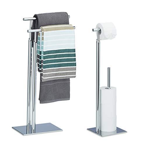 Relaxdays 2 TLG Bad Set PAGNONI, WC Garnitur, Handtuchhalter, Toilettenpapierhalter, Handtuchständer, Klopapierhalter, freistehend