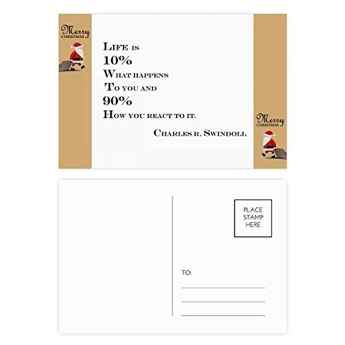 Wat is Life Quote Kerstman Gift Ansichtkaart Thanks Card Mailing 20 stks