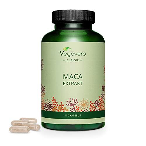 MACA Peruviana Vegavero | 4200 mg | L'UNICA con 0,2% di Macamidi e Macaeni | Fornitura per 6 mesi | 180 capsule | Vegan