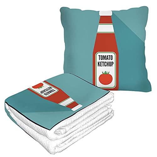 Tomate Ketchup - Manta de viaje y almohada 2 en 1 de franela suave de alta calidad, paquete compacto para botella de viaje, salsa, dibujos animados, especias, sabrosos vegetales y comida clásica