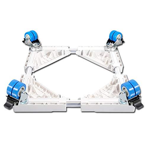 Réglable 41-68 cm Base de Machine à Laver Support Mobile pour sèche-Linge Tube Inoxydable (Charge de 200 kg),White-4Wheels