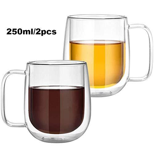 Set van 2 glazen - doorzichtige dubbelwandige glazen mok met handvat - houdt dranken warm en blijft koel bij aanraking - perfecte kop voor thee en koffie,250ML/2PCS