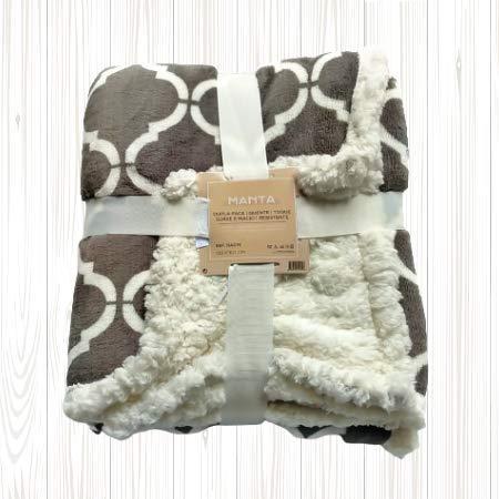 Manta de Coralina 130x160 cm para Sofá, Microseda, Borreguito, Suave, Extra Confort (Marrón)