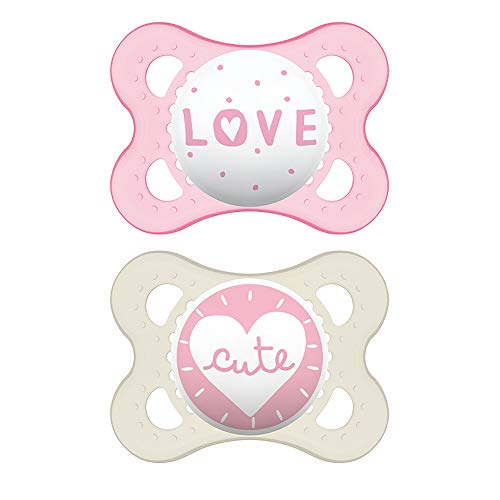 MAM Attitude Collection Pacifiers 2 pack 1 Sterilizing Pacifier Case MAM Pacifier 06 Months Baby Girl Pacifier Best Pacifier for Breastfed Babies Designs May Vary