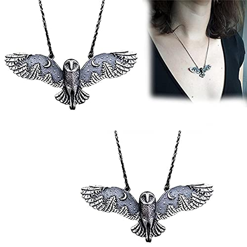 HUANYINGNI Silver Owl Moon Forest Necklace, Creativity Retro Barn Owl Moon Forest Necklace, Moon Phase Art Jewelry Animal Totem Necklace,Owl Pendant Necklace For Women Gifts 2pcs