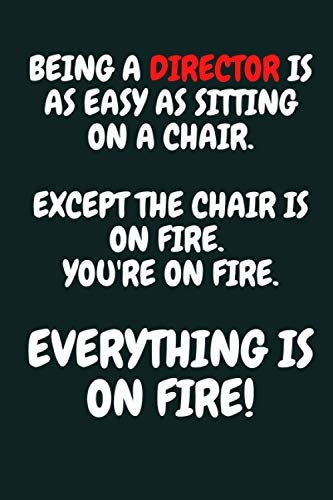 BEING A DIRECTOR IS AS EASY AS SITTING ON A CHAIR. EXCEPT THE CHAIR IS ON FIRE. YOU'RE ON FIRE. EVERYTHING IS ON FIRE!: Cool and Funny Director Gag Gift Notebook