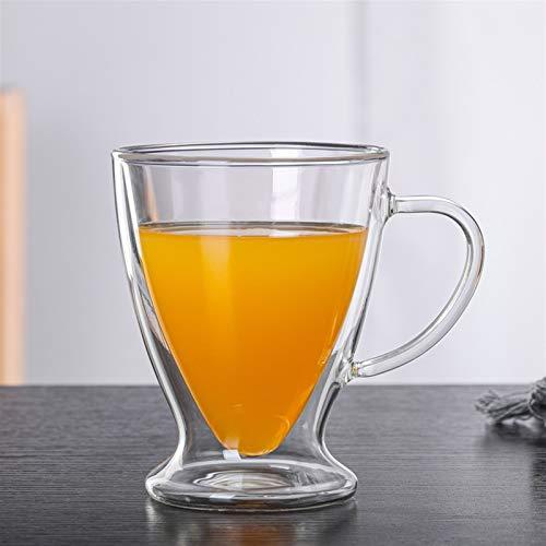 Doble taza de café Taza de vidrio transparente con asa Flor resistente al calor Taza de té Taza de bebida de jugo Jsmhh (Size : 350ml)