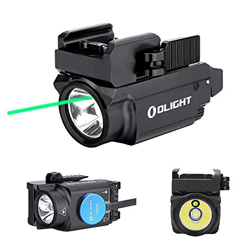 OLIGHT Baldr Mini 600 Lumen Pistol Light and Green Laser Combo (Class IIIA <5mw Safe Laser Output, PL-Mini 2 Combo) Tactical LED Flashlight Magnetic Rechargeable with Built-in Battery (Black)