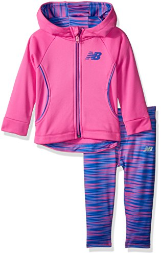 New Balance Girls' Baby Hooded Jacket and Tight Set, Fusion/Gradient Blur, 12 Months
