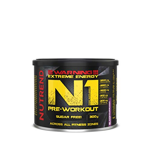 Nutrend N1 300g Blackcurrant Flavour Body Stimulant Than The Instant Form of pre-Workout Promote Muscle Pumping Beta-Alanine, AAKG Taurine DMAE