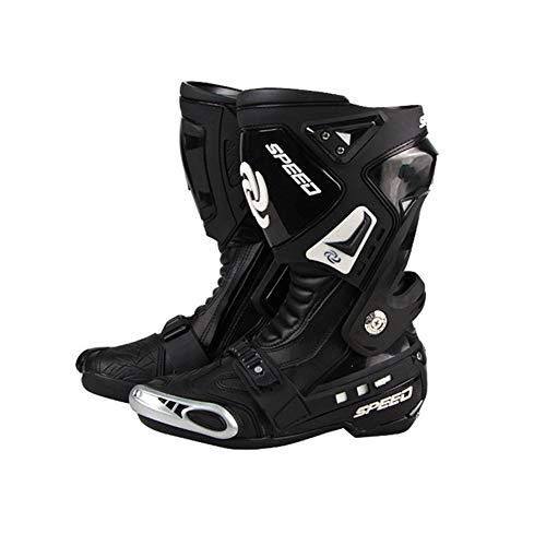 Acptxvh Cuero 1pair Rinding Tribu Motocicleta Botas Moto Campo a través MXGP Carreras de Velocidad Deporte Largo Zapatos de los Cargadores,Negro,43
