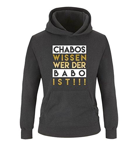 Comedy Shirts - Chabos wissen wer der BABO ist! - Jungen Hoodie - Schwarz/Gold-Weiss Gr. 140